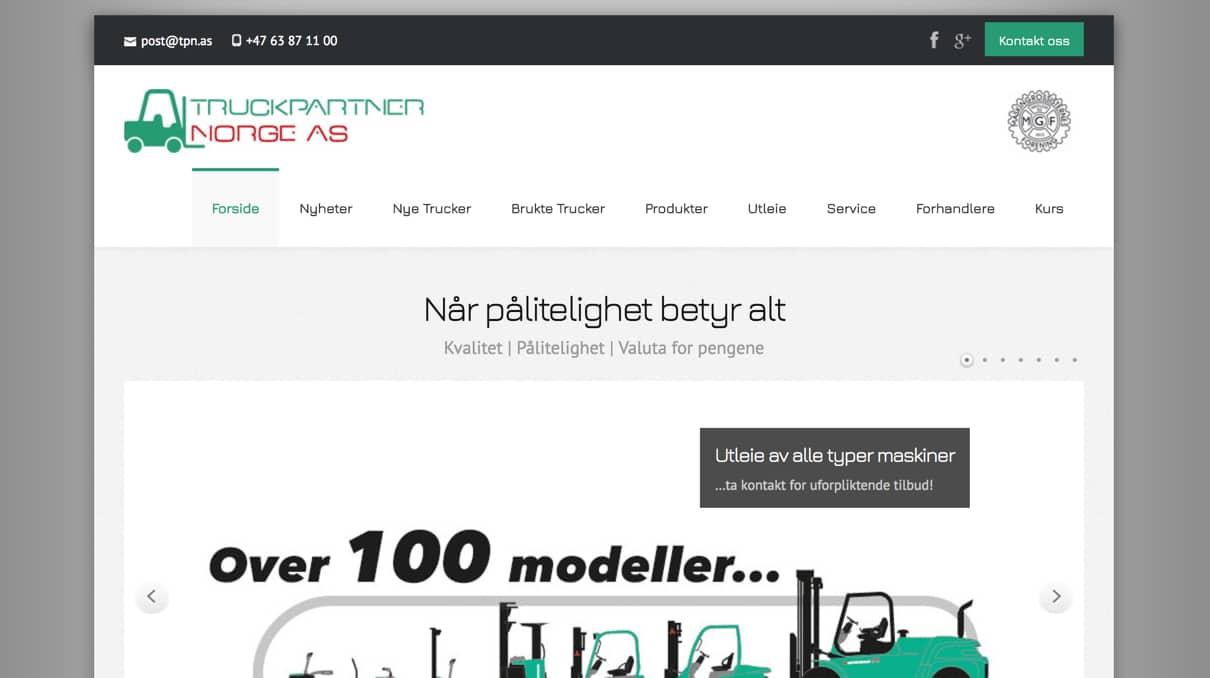 Truckparnter Norge har fått nye nettsider - Nybrott Media AS